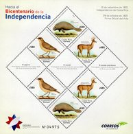 Costa Rica - 2018 - Fauna Of Costa Rica - Bicentenary Of Independence - Mint Souvenir Sheet With Embossing And Varnish - Costa Rica