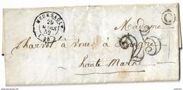 1852. LAC Ecrite à Lacanche - Càd Meursault (CÔTE D'OR) - Taxe 25décimes - 1852 - Postmark Collection (Covers)