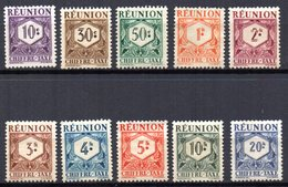 Col10    Réunion Taxe  N° 26 à 35  Neuf X MH  Cote : 8,50 Euro Cote 2015 - Réunion (1852-1975)