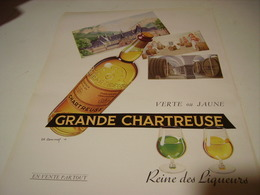 ANCIENNE PUBLICITE LIQUEUR GRANDE CHARTREUSE  1953 - Affiches