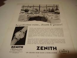 ANCIENNE PUBLICITE LA PERFECTION EXISTE MONTRE ZENITH  1954 - Bijoux & Horlogerie