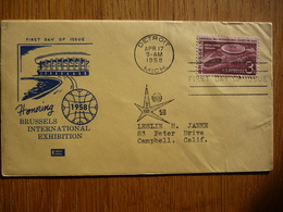 USA UNITED STATES FDC HONORING BRUSSELS INTERNATIONAL EXHIBITION 17-04-1958 - Eerste Uitgaves (FDC)