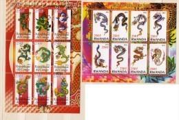 Mint MNH (**) 2 BF Block Stamp New Year Dragon China - Fantasy Labels