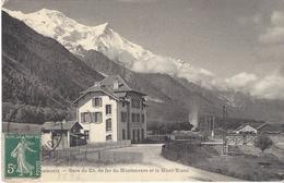 74 CHAMONIX MONT BLANC GARE DEPART TRAIN A CREMAILLERE DU MONTENVERS GLACIER DE LA MER DE GLACE  JULLIEN FRERES JJ 8596 - Chamonix-Mont-Blanc
