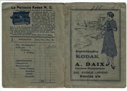 Ancienne Pochette De Photo Publicitaire KODAK - A. Daix 205 Avenue Lippens - Knocke S/M. - 2 Scans - Publicités