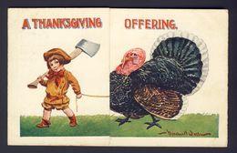 Thanksgiving - Boy Axe Turkey - Center Gatefold Clothing Ad Postcard B WALL A/s - Thanksgiving
