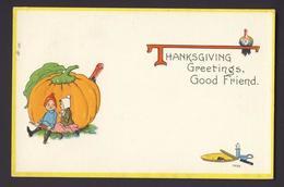 Thanksgiving - Pumpkin Boy Rifle Girl Pumpkin Pie Candle Stick Turkey Embossed - Thanksgiving