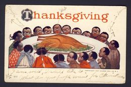 Thanksgiving - Children People Sitting Around Large Turkey B Wall A/s AS IS Postcard - Thanksgiving
