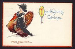 Thanksgiving - Woman Fancy Long Black Dress Large Hat Riding On Turkey - Thanksgiving