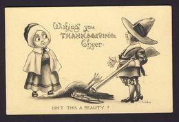 Thanksgiving - Pilgrim Couple Man Rifle Turkey Woman - Wall A/s - Thanksgiving