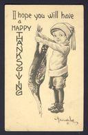 Thanksgiving - Boy Holding Turkey By Feet - Bernhardt Wall A/s - Thanksgiving