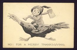 Thanksgiving - Smiling Boy Holding Axe Riding On Back Of Screaming Turkey - Thanksgiving