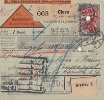 DR NN-Paketkarte Mif Minr.87I,88I,95AI,97AI Cleve 21.2.12 Gel. Nach Ungarn - Covers & Documents