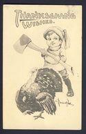 Thanksgiving - Boy Holding Axe Standing Behind Turkey - Bernhardt Wall A/s - Thanksgiving