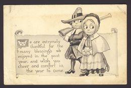 Thanksgiving - Pilgrim Couple Rifle Gun Scroll 1912 - WALL A/s - Thanksgiving