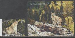 ALBANIA, 2017, MNH,FAUNA, FELINES, LYNX, 1v+S/SHEET - Big Cats (cats Of Prey)