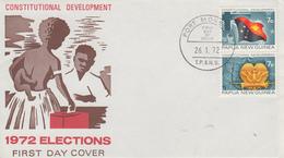Enveloppe  FDC  1er  Jour   PAPOUASIE   NOUVELLE  GUINEE    Elections    1972 - Papouasie-Nouvelle-Guinée