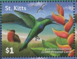 ST. KITTS, 2015,MNH,BIRDS, HUMMING BIRDS,  MOUNTAINS, 1v - Hummingbirds