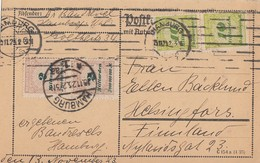DR Karte Mif Minr.2x 326A,2x 328A Hamburg 15.11.23 Gel. Nach Finnland - Briefe U. Dokumente