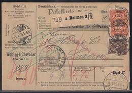 DR Paketkarte Mif Minr.208,2x 220,4x 223,246 Barmen 9.1.23 Gel. In Schweiz - Briefe U. Dokumente