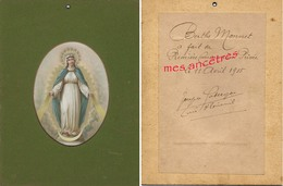 Vierge-11 Avril 1915-communion De Berthe MONNET-doc Signé Par Le Curé D'Exireuil, Joseph......cartonnée 18x 23,5cm - Communion