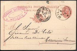 ITALY ITALIA ITALIEN 1898. POSTCARD CARTOLINA POSTALE, MILANO TERMINI IMERESE - Italy