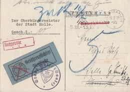 DR Karte Mit Aufkleber Gebührenpflichtige Dienstsache Nachgebühr Halle/Saale 15.2.39 - Briefe U. Dokumente