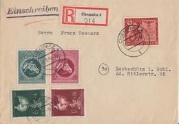 DR R-Brief Mif Minr.863,900,901,902,903 Chemnitz 22.9.44 - Briefe U. Dokumente