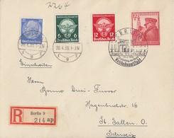 DR R-Brief Mif Minr.522,689,690,691 Berlin 20.4.39 Gel. In Schweiz - Deutschland