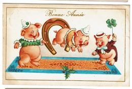Bonne Année - Cochons Humanisés - Fer à Cheval - Trèfle à 4 Feuilles ..circulée  - 2 Scans - New Year