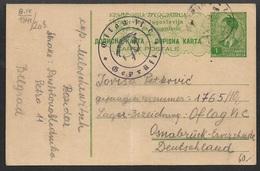 1941 Dt. Besetzung II. WK Kriegsgefangenenpost Serbien Ganzsache P1 Mit Lagerzensur - Oflag VI C Geprüft Nach Osnabrück - Besetzungen 1938-45