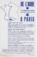 """Affichette Prospectus  """"Les Vignerons De L'Aude Ont Envoyé 220.000 Litres De Vin à PARIS"""" Année 1960..1963 - Agriculture"""