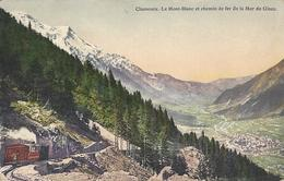 74 CHAMONIX MONT BLANC  TRAIN A CREMAILLERE DU MONTENVERS GLACIER DE LA MER DE GLACE CARTE COLORISEE EDITEUR BURGY 481 - Chamonix-Mont-Blanc