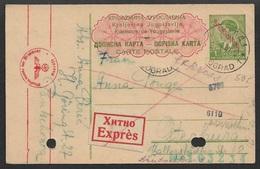Dt. Besetzung II WK 1942 Serbien 1 Din. Ganzsachenkarte P2 , Express Belgrad Mit Zensur. Interresanter Text ! - Besetzungen 1938-45