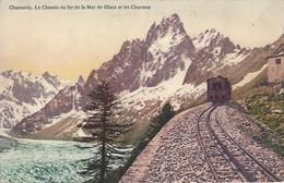 74 CHAMONIX MONT BLANC  TRAIN A CREMAILLERE DU MONTENVERS GLACIER DE LA MER DE GLACE CARTE COLORISEE EDITEUR BURGY 485 - Chamonix-Mont-Blanc