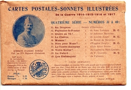 Cartes Postales Sonnets Illustrées Du Poilu André Soriac.Quatrième Série Complète 10 Cartes . Guerre 14-18 . - Ohne Zuordnung