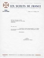 """Lettre Dactylographiée :  """"LES SCOUTS DE FRANCE"""" Région Ile De France 1966. Evocation Du Camp De BEAUFORT (ANJOU) - Scouting"""
