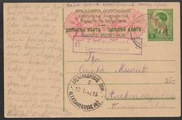 """Dt. Besetzung II. WK  Serbien 1942 1 Din. Ganzsachenkarte Mi. P2 , """"Aleksandrovac Poz 10.I.42""""   Zensur 8. - Besetzungen 1938-45"""