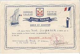 """BREVET D'ELITE- """"JEUNE MARINE"""" OBEIR ET CHANTER - COLONIE DE VACANCES DE LA BAUCHE ? 1er SESSION 1947 - Diplômes & Bulletins Scolaires"""