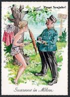 B9139 - TOP Glückwunschkarte - Neujahr - Scherzkarte Humor - Pretty Young Women - Humor