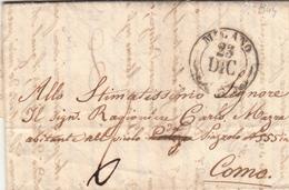 Pref. Milano Per Como. Lettera Con Contenuto Letterario. Giacomo Mazza Giovane Poeta Scrive Poesie Sul Natale 1844 - Italy