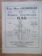 1922 - PLAN De Pompe Centrifuge HAG GIESBERGER   Bellevue Meudon   - Page Originale MACHINE Industrielle - Planches & Plans Techniques