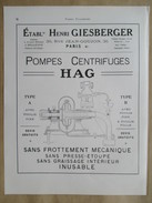 1922 - Page Originale ARCHITECTURE INDUSTRIELLE - PLAN  Pompe  Centrifuge HAG - Ets Henri GIESBERGER - Machines