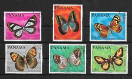 PANAMA MARIPOSAS BUTTERFLIES SERIE COMPLETA AÑO 1967 YVERT TELLIER NRS. 471-74 Y AEREO 446-447 OBLITERES TRES BON ETAT - Panama
