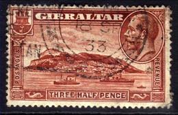 Gibraltar 1931 - 33 KGV 1 1/2d Red Brown Rock Gibraltar SG 111 ( F1067 ) - Gibraltar