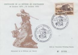 Enveloppe    Centenaire  De  La  Défense  De   CHATEAUDUN   1970 - Militaria