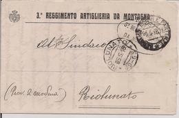 """""""3°REGGIMENTO ARTIGLIERIA DA MONTAGNA"""",BERGAMO,1918.RICHIESTA INFORMAZIONI,FRANCHIGIA,TIMBRO POSTE RIOLUNATO FRAZIONARIO - 1914-18"""