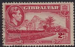 Gibraltar 1938 - 51 KGV1 2d Carmine The Rock SG 124c ( L1358 ) - Gibraltar