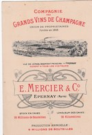 Carte Commerciale  Grands Vins De Champagne Mercier Et Cie Epernay (51) Usine Prix ...   Gravée - Visiting Cards