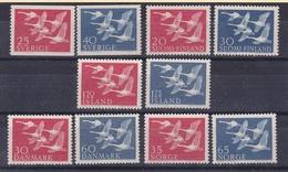 1956 Norden GIRI DEL NORD  - CIGNI  Giro Di 10 Valori: Danmark Island Norge Sverige Finland MNH** SWANS - Danimarca